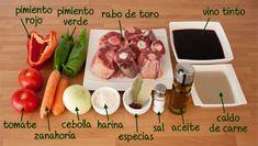 Ingredientes para hacer una deliciosa receta tradicional del rabo de toro Deli, Cooking Recipes, Food, Ideas Para, Drinks, Image, Oxtail Recipes, Beef Recipes, Chicken