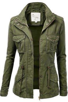 Studded Military Jacket for Women. SO CUTE! I'd pair it with brown or khaki pants and a white top.