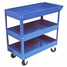 """Perfect for corralling tools in the garage or cleaning supplies in the laundry room, this steel utility cart features 3 shelves and 4 wheels.     Product: Utility cartConstruction Material: SteelColor: BlueFeatures: Three shelvesFour wheels Dimensions: 30.7"""" H x 29"""" W x 15.1"""" DNote: Assembly required"""