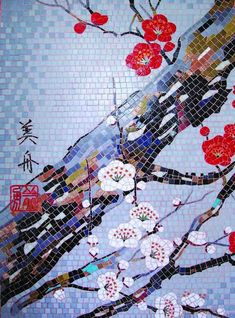 The Japanese cherry blossom festival is celebrated to enjoy the transient beauty of the spring blooms but you'll be able to enjoy the beauty of this mosaic for years to come with this handmade glass mosaic. Mosaic Designs, Mosaic Patterns, Pattern Art, Art Patterns, Art Designs, Mosaic Art Projects, Mosaic Crafts, Mosaic Ideas, Craft Projects