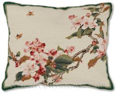 Cherry Blossoms Accent Pillow - Floral Pillows at NeedlepointPillows.com