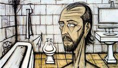 Bernard Buffet, Autoportrait dans la salle de bain - 1988 huile sur toile 114 x 195 cm ©ADAGP