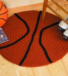 Football Basketball Rugs Crochet Patterns Any athlete or fan will have a ball with these sporty spreads They're real winners as accents in a rec room, childs bedroom or den. Materials needed: For both crochet hooks Size G J or size needed to. Love Crochet, Learn To Crochet, Crochet For Kids, Crochet Baby, Knit Crochet, Crochet Home Decor, Crochet Crafts, Crochet Toys, Crochet Projects