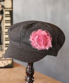 Take a look at this Charcoal & Pink Wool Newsboy Cap by Fancy That Hat on #zulily today!
