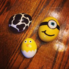 My painted Easter Eggs. Cow print, chick and minion :)