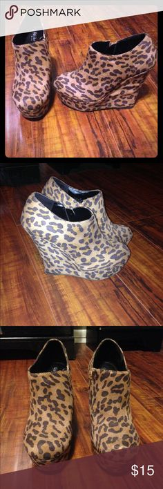 Mossimo leopard wedges Leopard wedges size 8 worn maybe 3 times Mossimo Supply Co. Shoes Wedges