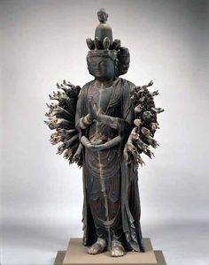 Thousand-armed kannon, (avalokitesvara), Japan, Heian period, early 11th century, wood,  height 176.3 cm, Zensh-ji Temple, Ritt City. Import...