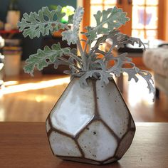 Faceted brown and white vase by MrJongo on Etsy, $35.00