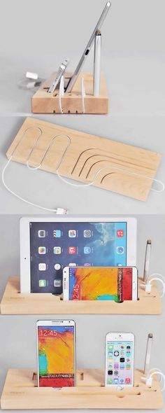 Wooden Charge Cable Organizer iPad Cell Phone Charging Station Dock Holder