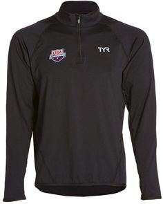 d856dac4 TYR USA Swimming All Elements Men's Long Sleeve 1/4 Zip Pullover 8126189