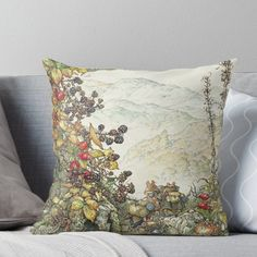 'Walk to the High Hills' Throw Pillow by BramblyHedge Throw Pillows Bed, Bed Throws, Designer Throw Pillows, Floor Pillows, Decorative Throw Pillows, Tales Of Beatrix Potter, Dorm Shopping, Brambly Hedge, Childrens Bedroom Decor