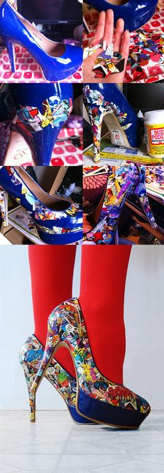 10 Unique DIY Heels Ideas DIY high heels comic strips and Modge Podge Childress Childress Salinas - this is a must do!DIY high heels comic strips and Modge Podge Childress Childress Salinas - this is a must do! Comic Book Shoes, Comic Books, Comic Book Crafts, You Are My Superhero, Vetements Shoes, Ideas Paso A Paso, Shoe Makeover, Diy Accessoires, Diy Vetement