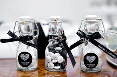 Black and White mini bottles as favors, cute Wedding Favors, Wedding Decorations, Cha Bar, White Bridal Shower, Chocolate Decorations, Mini Bottles, Wedding Photos, Wedding Ideas, 40th Birthday