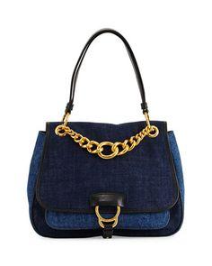 Miu Miu Dahlia Denim Chain Top-Handle Bag ad697b95e7923
