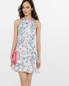 garden floral halter fit and flare dress from EXPRESS