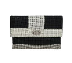 GRAPHIC MIXED MESH CLUTCH | Whiting & Davis Graphic Patterns, Chevron, Layers, Mesh, Stripes, Shoulder Bag, Layering, Line Art, Fishnet