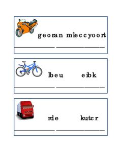 Spelling+Things+That+Go+Word+Game+Scramble.+Great+for+Fun-Stuff,+Critical+Thinking,+Literacy,+Reading+Comprehension,+English.+Printable.+Car+Bus+Train+Rocket+Bike+Truck+Motorcycle+Jet+3+pages.+