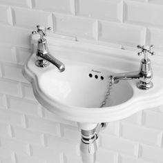 Burlington Traditional Wall Mounted Curved Cloakroom Basin - P13 at Victorian Plumbing UK