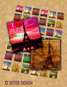 Heart in Paris  Digital Collage Sheet 1x1 Inchie by Osister, $3.20