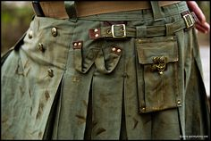 go casual Kilt chic...; new olive drab military inspired w/ leather & antique brass accents