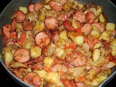 SKILLET POTATOES 2 large russet potatoes, cut into 1″ cubes…… 14 oz. smoked sausage, thinly sliced 1 small onion, chopped 1/2 c. chopped bell pepper (red or green) 1 clove garlic, minced 1/4 c. chicken stock 1 1/2 tsp. paprika 1/4 tsp. each salt and pepper 1/4 tsp. dried parsley 2 tbsps. veg. oil How to make it : In a large skillet heat oil…add in the smoked sausage and cook, turning often till browned on edges. Remove meat from skillet and add in the potatoes and cook over med. high ...