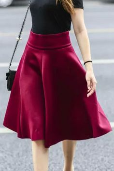 Solid Color Flouncing High Waisted Skirt