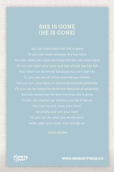 She is Gone, a Collection of Non-Religious Funeral Poems curated by Memory Press - creators of beautiful, uplifting, and memorable Funeral Programs Funeral Readings, Funeral Poems, Writing A Eulogy, Sympathy Poems, Quotes To Live By, Life Quotes, Funny Quotes, Religious Poems, Grief Poems