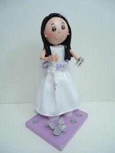 Muñecas de Comunión decorados con goma eva
