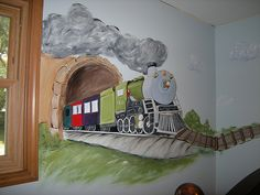Train mural--would love to be able to do this in my lil' guys bedroom