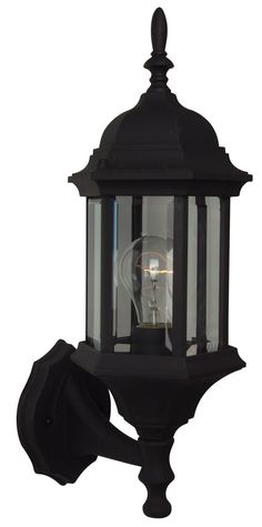 The Hex Style outdoor lighting collection from Exteriors by Craftmade is a great choice for sturdy, stylish outdoor light. Made of cast aluminum, this traditional look features clear glass and a matte black finish.