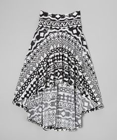 Loving this Rated G Black & White Geo Hi-Low Skirt on #zulily! #zulilyfinds