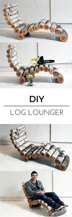 How To Make a Log Lounger. Easy Project With a Lot of Pop http://vid.staged.com/Hpet Great Project From Homemade Modern