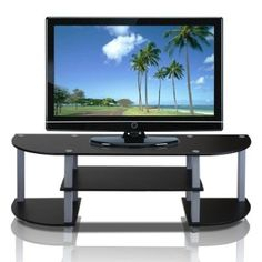 nice FURINNO 11058BK/GY Turn-S-Tube Wide TV Entertainment Center, Black/Grey - For Sale