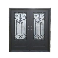 """Exterior Wrought Iron Glass Doors Roman Collection - Black Right Hand Inswing 98""""x62"""" Flat Top"""