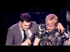 Mom convinces Michael Buble to let her son, Sam, to sing and he nails it beautifully