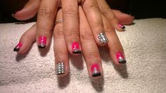 #nails #pink #black #glitter #bling