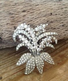 Huge Art Deco Rhinestone Lily or Orchid Flower Brooch Pin White Sparkly WOW | eBay