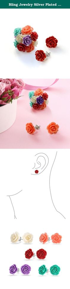 Bling Jewelry Silver Plated Resin Rose Stud Earrings Bouquet Set of 5. Say it with flowers. This fabulous silver plated stud earring set features 5 pairs of brightly colored resin rose studs. Perfect gifts for mom, these rose flower earrings are sure to be her favorite mothers day gift. With their gorgeous hues, these silver plated brass stud earrings are a great compliment to any spring outfit.