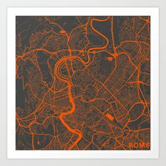 Rome Map - Art Print by Map Map Maps - $18.00-------------------------------If you like my work, you can folllow my Facebook account : https://www.facebook.com/MapMapMaps