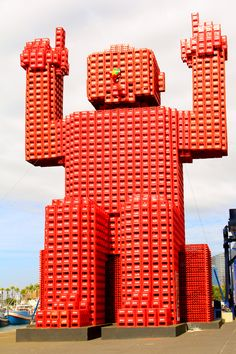 Named Elliott, this giant lives at Cape Town, South Africa's V Waterfront.  He is made from 4,200 empty Coca-Cola crates and his purpose is to remind people the importance of recycling both cans and plastic bottles.