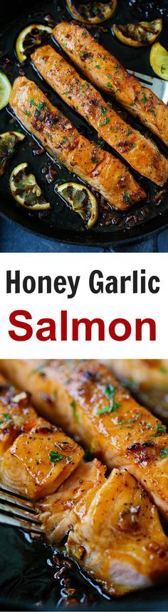 Garlic Salmon Honey Garlic Salmon – garlicky, sweet and sticky salmon with simple ingredients. Takes 20 mins, so good and great for tonight's dinner Salmon Recipes, Fish Recipes, Seafood Recipes, Cooking Recipes, Cooking Food, Copycat Recipes, Healthy Cooking, Dinner Recipes, Clean Eating