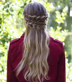 half up/half down combo with different kinds of waterfall braids