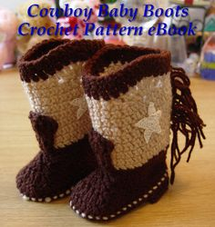 Western Cowboy Baby Booties Boots Crochet Pattern PDF eBook Digital Download for Boy or Girl, $11.95