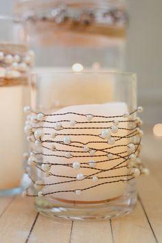 $16.99 · Pearl and wire, elegant, rustic candle decor for wedding centerpieces #weddingideas #weddingdecor #weddingdecorations