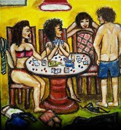 Strip Poker Original Painting Oil Painting Figure by BadGirlsArt,