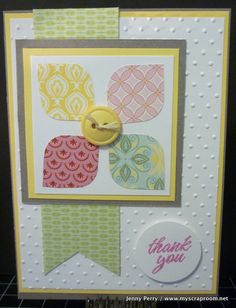 CTMH rounded squares & Chantilly paper pack another way of using scraps!