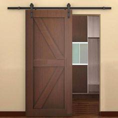 PENSON & CO. Sliding Door Track Hardware Set 6.6FT Brown Black Steel Antique European Barn