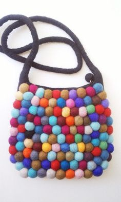 Gumball Bag with Black handle by YUMMI oooooo unique beautiful yellow fun colorful clutch purse. $79.99, via Etsy.
