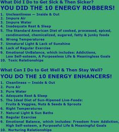 Energy robbers and enhancers