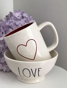 NEW ~ HARD TO FIND RAE DUNN VALENTINE'S DAY RED HEART DOUBLE-SIDED MUG  #RaeDunn